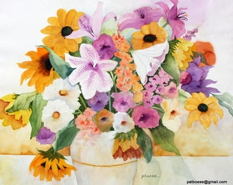 Gilded Vase is an archival matted print of an original watercolor painting