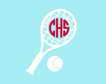 "Tennis Monogram Decal, Personalized Decal, Tennis Decal, Monogram, 5"" x 3.84"""