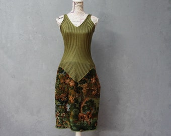 Green Forest Dress, Mori Girl, Trees, lake, Moose, Deer, Vintage Gobelin Tapestry Fabric Clothing size 6/8 EU size 36/38