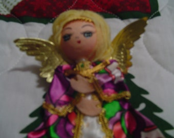"Vintage Angel Christmas Tree Ornament .  Measures approx, 5"" H"