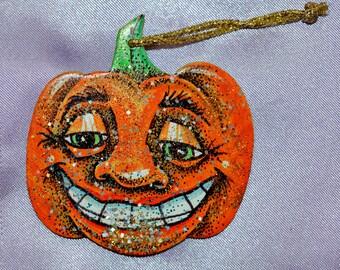 Smiling Halloween Pumpkin Ornament