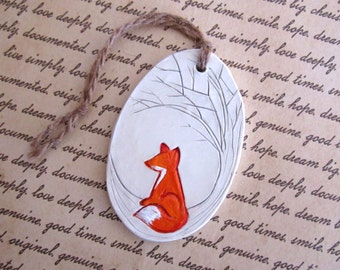 Fox With Tree Ornament, Clay Christmas Ornament