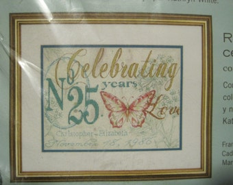 "Cross Stitch Kit - Celebrating Anniversary Record - by Dimensions - 12"" x 9"" - NEW NIP"