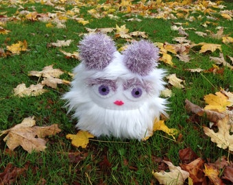 Pitter the Troublewump - Juvenile Brumblewump - She is Not a Monster! White, furry stuffed animal.  Cute children's book character.
