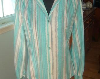 Vintage 70's Women's Blouse, Light Polyester, White, Grey and Aqua Sripes