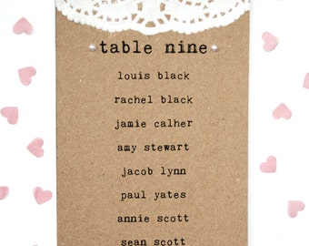 Rustic Doily and Pearl Wedding Table Plan Card with Pearl Detailing