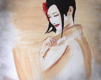 "18""x24"" Abstract Painting of Geisha Girl"