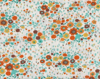 Japanese cotton fat quarter by Sevenberry- Floral in Aqua, Brown and Gold