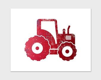 11x14 Red Tractor Nursery Art Print Printable Art Red Work Vehicle Boys Nursery Art Red Truck Print Tractor Printable