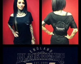 Black Heart Tattoo Studio, England - LADIES Batwing Tunic Tee S/M - Black