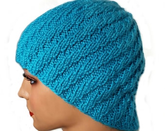 Rib Knit Hat - Spiral Hat - Stretchy Hat - Chemo Cap - Rib Hat - Blue Knit Hat - Spiral Knit Hat - Wool Rib Hat