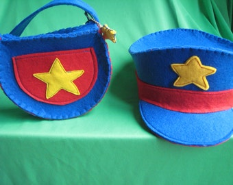 CHILD POLICEMAN outfit, bag, hat-handcuffs-handmade-felt