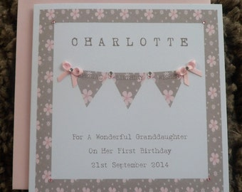 Handmade Personalised Birthday Card VINTAGE BUNTING DESIGN Any Age
