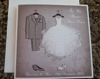 "Handmade Personalised 6"" Square Wedding Vow Renewal Card"