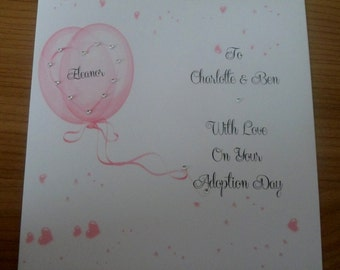 "Handmade Personalised 6"" Square Adoption Card"