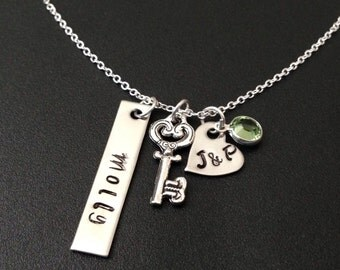 Hand Stamped Jewelry - Personalized Mommy Jewelry -Custom Heart Necklace - Engraved - - Love is the Key- 1 Birthstones necklace