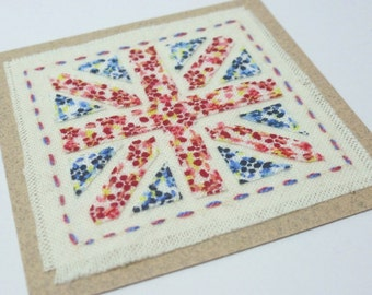 Union Jack Miniature Patchwork Fabric Card Hand Embroidered