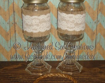 PG0058 - Set of Rustic Wine Glasses - Redneck Wine Glass - Mason Jar Glass - Rustic Wedding Glasses - Hillbilly Wine Glass