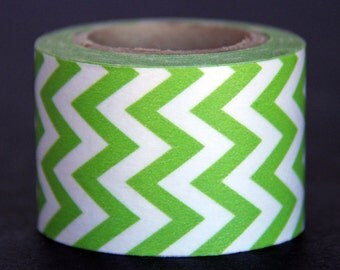 SALE!!! Lime Green and White Chevron Washi Tape - 10 Yards
