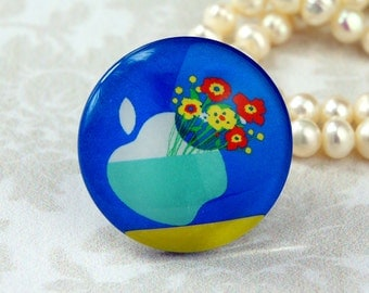 25mm 30mm Apple flower cabochon Handmade glass photo cabochon 30M012