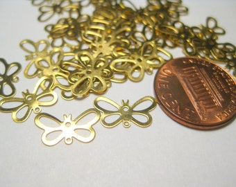 100pcs Raw Brass Butterfly Connectors Links Filigree  Metal Findings