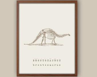 Boys Wall Art - Kids Dinosaur Art - Baby Boy Nursery Art - Kids Wall Art - Playroom Wall Decor - Brontosaurus - Boys Room Decor