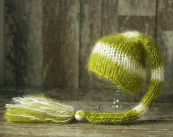 Newborn Elf Hat, Knitted Mohair Baby Girl Boy Hat,Stripe Green Ivory, Munchkin hat, Knit baby hat, Photo prop, Photography,Beanie