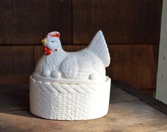 Small Chicken Ceramic Container