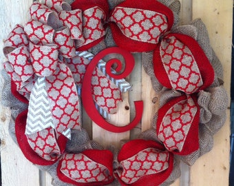 Burlap valentines day wreath, red valentines monogram wreath, gift for valentines day, wreath for door