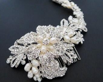 Bridal headpiece, Bridal hair vine, Pearl Wedding headpiece, Large Bridal hair comb Rhinestone headpiece Pearl hair comb Statement headpiece