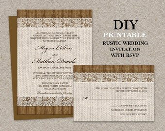 Rustic Wedding Invitations With RSVP Cards, Printable Rustic Wedding Invitation Set With Burlap And Lace, Burlap Wedding Invitation Cards
