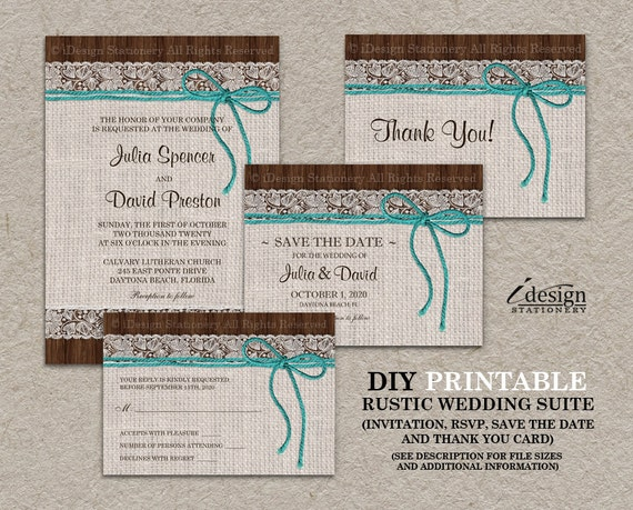 DIY Printable Rustic Turquoise Wedding Invitation Kit With