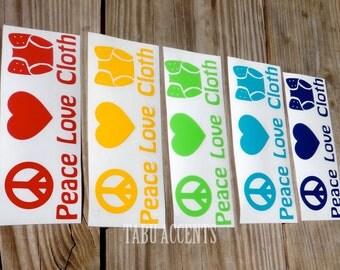 Peace Love Cloth Diaper Decal