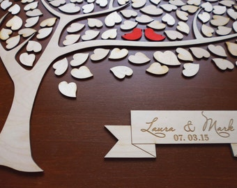 Unique Wedding Guestbooks Guest Book Alternative Wooden Tree Guest Book 3d Tree Wedding Guest Books Sign with Hearts to Sign Rustic Wedding