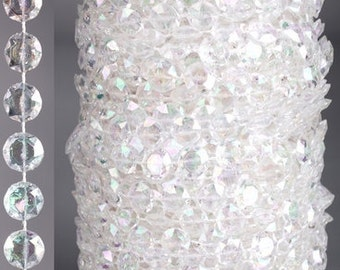 Roll of Beads 33 Yards (99 ft)- Diamonds Crystal Iridescent/white 2 Colors