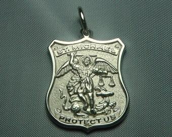 Patron saint of pol etsy st michael medal 14k white gold archangel pendant necklace aloadofball Choice Image