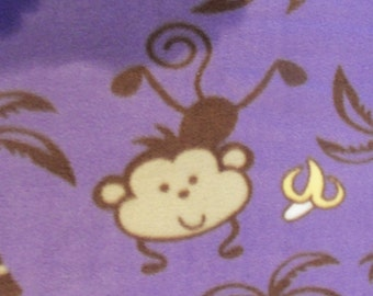 Monkeys Bananas and Palm Trees on Purple Fleece Throw