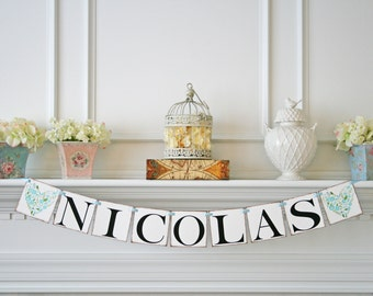 Name Banner - Vintage Baby Shower Decor - Birthday Banner - Baby Shower Banner - Garland Decorations - Birthday Party Decor