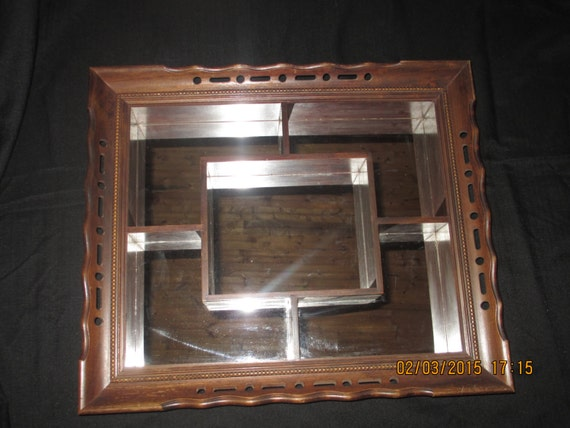 Antique vintage wood wall mirror with disply box shelves for Mirrored box shelves