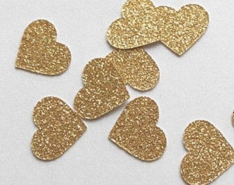 Gold Confetti Hearts- 100 pieces
