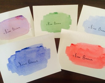 Hand Painted Watercolor Stationary with Calligraphy Writing