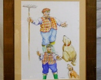 Original watercolour Peter Atkins cartoon painting art Singing humour performing art singing dog framed art Freight cost extra global gift