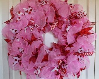 Deco Mesh Valentine's Day Wreath. Valentine Decoration.Valentine Ribbon Wreath.Valentine's Day Decoration.Pink, red and white Valentine gift