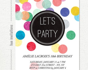 rainbow confetti 10th birthday party invitation, let's party modern girls birthday invite, kids confetti birthday party, 5x7 jpg pdf 628