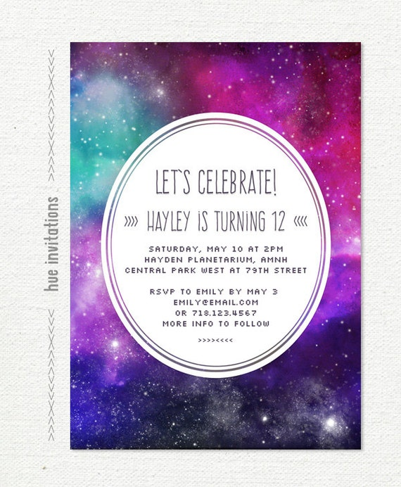 space birthday invitation girls 12th birthday party galaxy – 12th Birthday Invitations