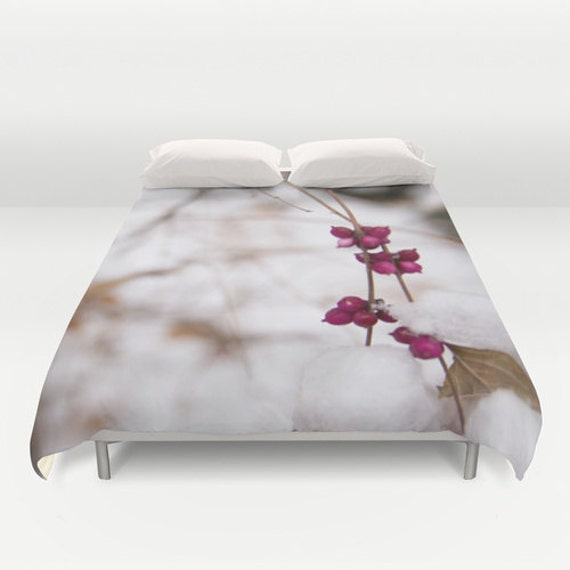 Duvet Cover, White and Pink, Winter Bedding, Twin Full Queen King, Photo Products, Macro Photography, Girls Room, Dorm Room, Housewarming