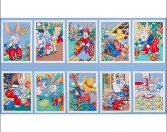 100% Cotton Fabric Panel Robert Kaufman Bunny Tales Panel 60cm x 112cm