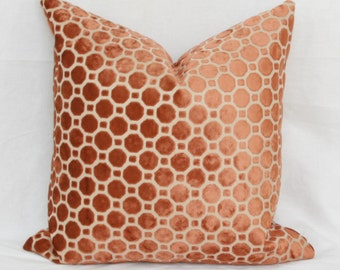 Copper geo velvet pillow cover 18x18 velvet pillow 20x20 22x22 24x24 26x26 Velvet pillow Orange lumbar pillow Euro sham Robert Allen pillow