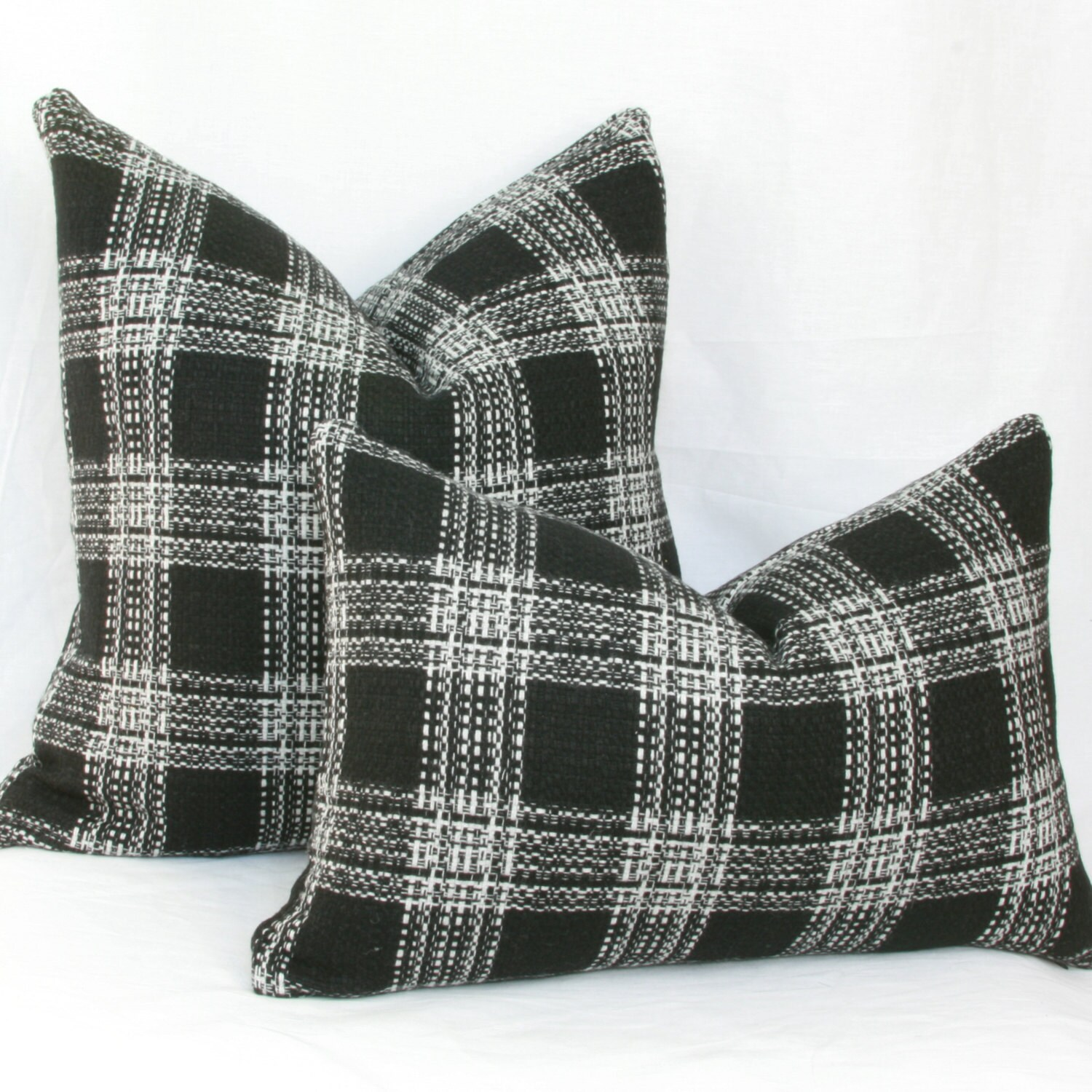 Black Plaid Throw Pillows : Black & white wool plaid decorative throw pillow cover. 18 x