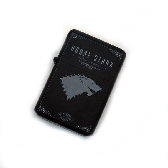 Steel Fliptop Windproof Lighter, House Stark - Customize Print Available